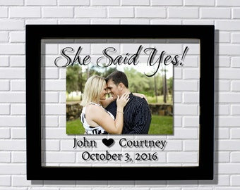 She Said Yes! Engaged Frame - Floating Frame - Personalized Custom names and date - Photo Picture Frame - Couple Engagement Betrothed