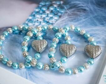 Handmade Bracelet, Heart Bracelet, Heart Jewellery, With Love, Pastel Blue and Silver, Beaded Bracelet, Gift for Her