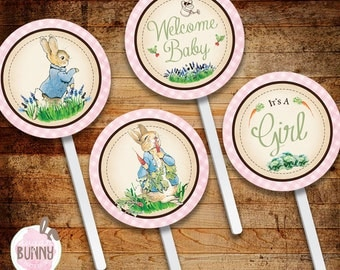 INSTANT DOWNLOAD Peter Rabbit Baby Girl Shower Cupcake Toppers, Favor Labels