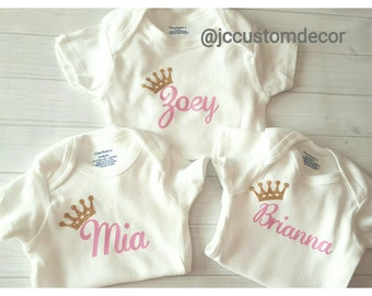 Personalized baby onesie-Princess Personalized Onesie-Baby Name Onesie-Name Baby Onesie Personalized-Onesie Baby Gift-Glitter Girl Onesie