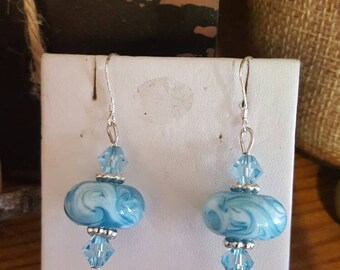 Lampwork glass earrings with swarovski crystals