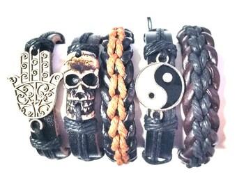 5 Piece Men's Women's Handmade Leather Bracelet Set, Leather Bracelet