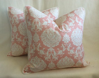 Damask Designer Pillow Cover Set - Pink/White
