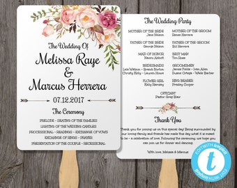 Wedding Program Fan Template, Bohemian Floral, Instant Download, Edit in Our Web App Right in Your Browser, Boho Watercolor Flowers
