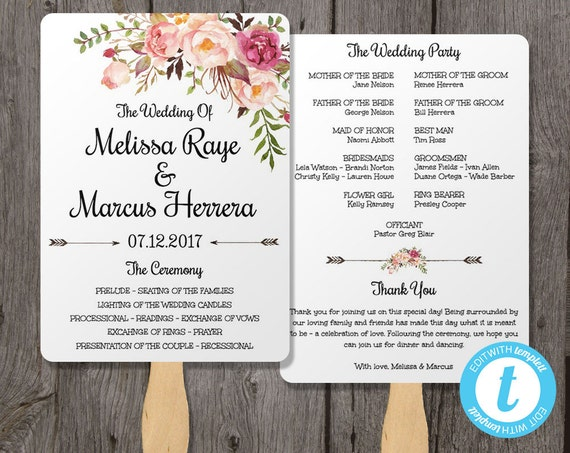 Wedding Program Fan Template Bohemian Floral Instant By