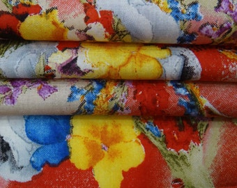 """42"""" Wide Multicolor Floral Print Fabric Indian Dress Making Sewing Apparel Material Upholstery Indian Pure Cotton Fabric By 1 Yard ZBC7929B"""