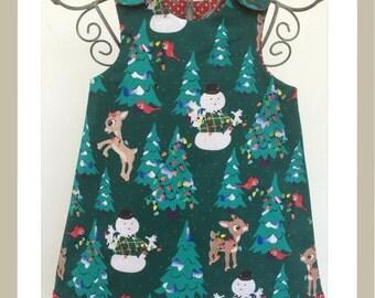 Christmas reversible girls pinafore dress