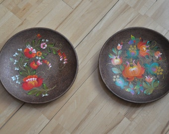 Decorative plate Ukrainian Ethnica gift Hand painted plate Kitchen Ideas Wall decorations Wall art decor Wall hangings Price for 2 pieces