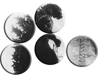 Godzilla / Gojira (1954) handmade film / movie badge set [Ishiro Honda]