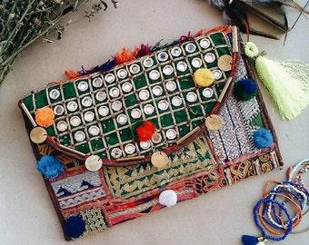 ON SALE Boho banjara bag, Bohemian bag, Hippie bag, Indian vintage bag, Gypsy bag, Kutchi Banjara Bag, Festival bag, Boho clutch,Antique bag