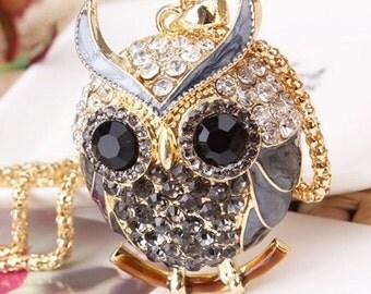 Rhinestone black owl necklace.
