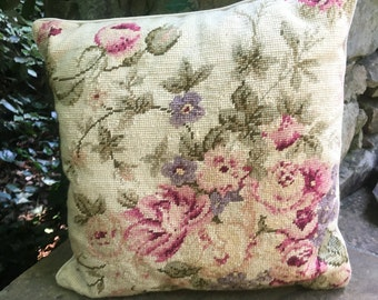 Rose floral Needlepoint Pillow