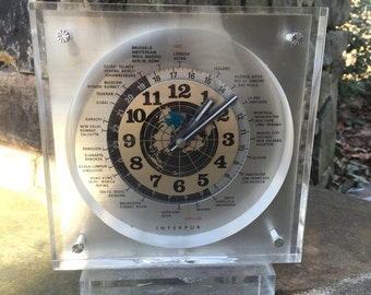 Lucite World Clock - Mid Century