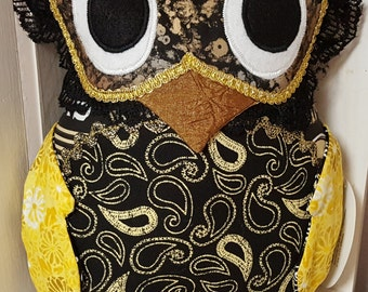 Black and Gold Whoo Dat Owl Pillow