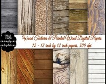 Various Wood Textures (including painted textures) Digital Paper Pack, Gnarled Beach Wood Textures, 12-12by12 Papers, 300 dpi, Commercial OK