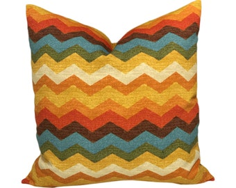 Blue, Orange, Off Whte, Green, Yellow Chevron Pillow Decorative Throw Pillow Cover.