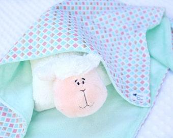 baby girl blanket - mint - baby blanket - minky