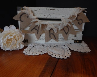 Rustic Painted Wooden Wedding Card Box