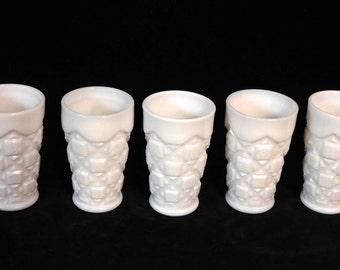 "Westmoreland milk glass tumblers-- ""Old Quilt"" pattern"