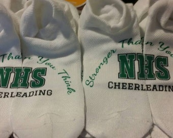 Team Quote - Lucky Socks - Summit socks - NCA socks - Nationals socks - Cheer Socks - Custom: any graphic or text in any color