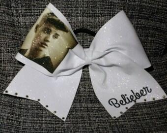 Belieber - Justin Beiber - cheer bow - on white ribbon or white glitter