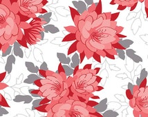 Desert Bloom Main Red by Riley Blake Designs - Floral Gray White Flowers - Jersey KNIT cotton stretch fabric - by the yard fat half quarter