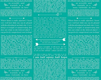 Ardently Austen Text Teal by Riley Blake Designs - Jane Austen Literature - Quilting Cotton Fabric - by the yard fat quarter half