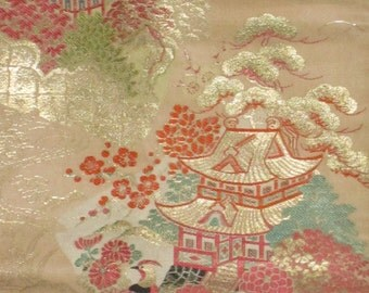 light pink obi with landscape
