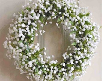 Green and White Baby's Breath Wreath. Life-Like Botanical Florist. 10 Inches Diameter.