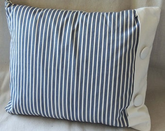 Blue and White Stripe Ticking Pillow / Stripe Pillow / Blue and White Pillow / Down Filled Pillow / Bedroom Decor /  Beach Decor / Cottage