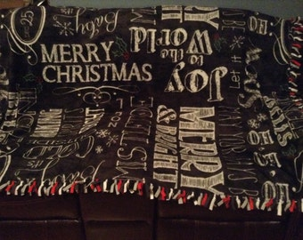 Unique handmade Christmas no sew chalkboard blanket