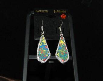 Multicolor Stone Jasper Earrings