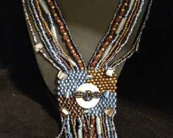 Blue Jean Abstract Beaded Necklace