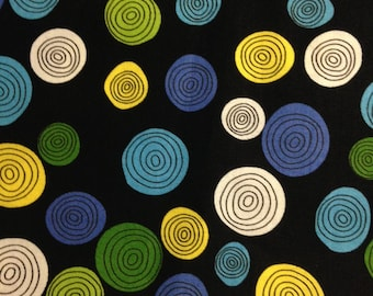 SALE:  Whirly Dots on Black Background, What A Whirl by Greta Lynn for KANVAS for Benartex, 100% Cotton