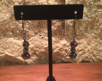 Black freshwater pearl and crystal ball earrings