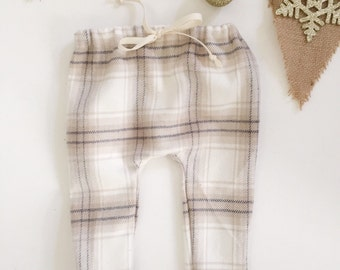 White Plaid Harem Pant
