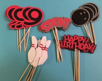 Handmade bowling birthday party cupcake toppers in any colors you wish, with personalized age