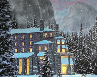 """Night At The Ahwahnee, 14"""" x 14"""" Gallery Wrapped Canvas"""