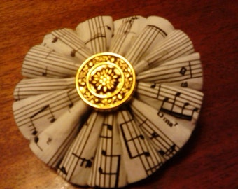 Lovely Recycled Sheet Music Paper Brooch