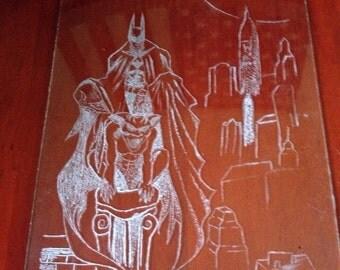 Batman gotham hand engraved glass art piece