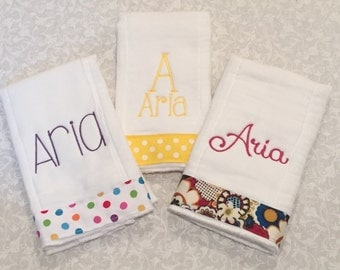 Set of 3 Personalized Burp Cloths - Monogrammed Burp Cloth Set - Other Colors Available