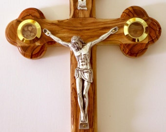 """Genuine Olive Wood Wall Cross Jesus Catholic Crucifix 7"""" Bethlehem Jerusalem"""