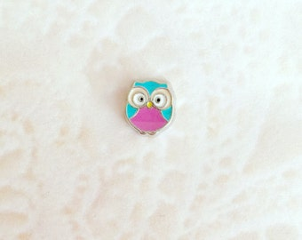 Colorful owl floating charms for memory lockets