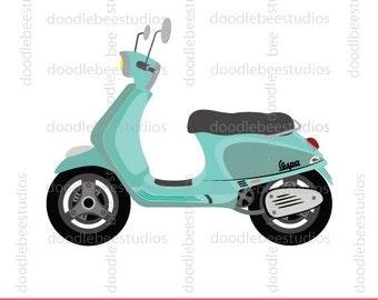 Vespa Clipart, Scooter Clip Art, Turquoise Vespa Clipart, Turquoise Vespa Clip Art, Blue Scooter Clipart, Scooter Clipart,Motorcycle Clipart