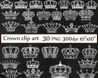 "Chalkboard Crown clipart: ""CROWN CLIP ART"" Royal Crown Clipart  Silhouette Clipart white crowns Chalkboard clip art  Digital Crown Clip Art"