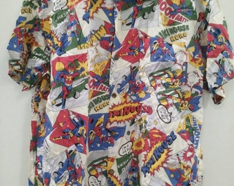Rare Vintage Mikihouse Collection Hawaiian Shirt Disney Reyn Sponer Sunsurf
