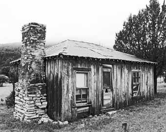 Cabin photograph, fine art picture, black and white photo, vintage cabin, lanscape photo, mountains, trees, grass, ghost town, house