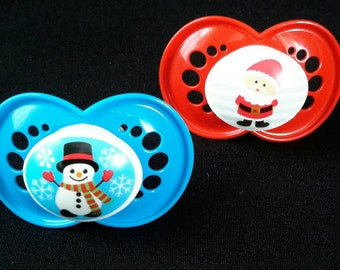 Christmas/winter themed pacifier for Reborn baby dolls. Magnetic or putty, your choice!