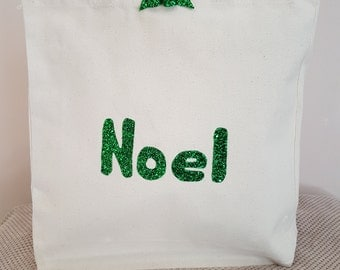 Green Noel canvas tote shoulder bag