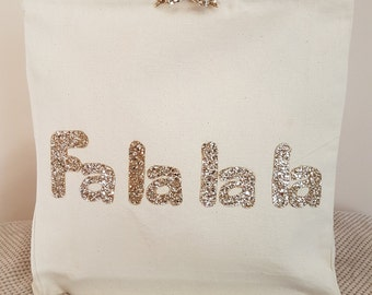 Gold Fa la la la canvas tote shoulder bag